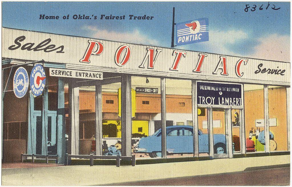 Postcard showing a Pontiac dealer in Oklahoma, ca 1930