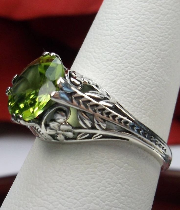 EdwardianDeco Natural Round Green Peridot Sterling Silver Floral Filigree Ring Size Made T EdwardianDeco Natural Round Green Peridot Sterling Silver Floral Filigree Ring...