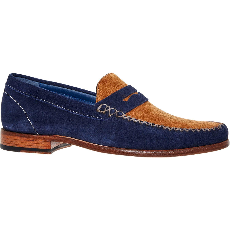 so cheap recognized brands skate shoes BARKER Navy & Tan Suede Loafers | Loafers, Suede loafers, Loafers men