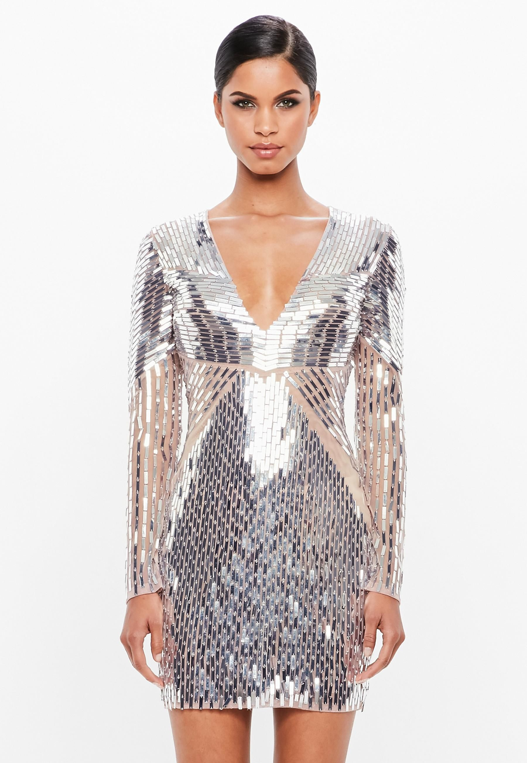 fd3138376321 Peace + Love Silver Embellished Plunge Mini Dress in 2019