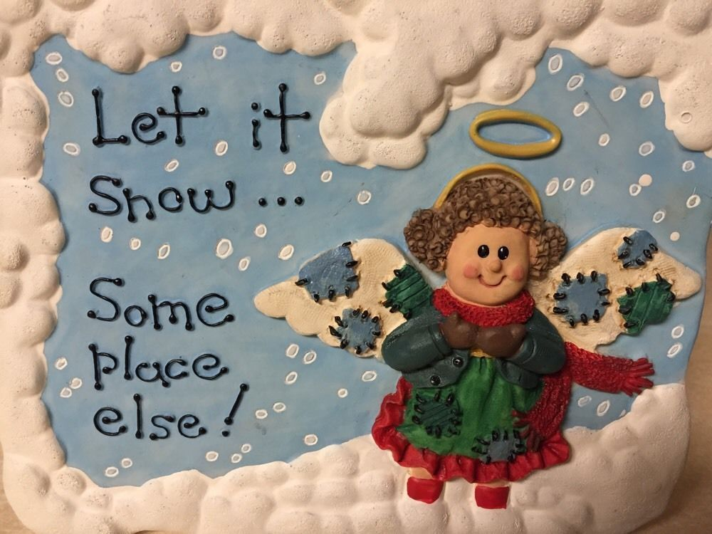"""6.5"""" Christmas Around the World ANGEL Wall Plaque """"Let it snow...Some Place Else"""