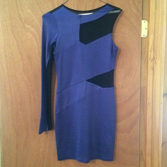 BeBe one shoulder dress! Like new! One shoulder purple dress with black mesh! Kardashian for BeBe! Hot! bebe Dresses One Shoulder