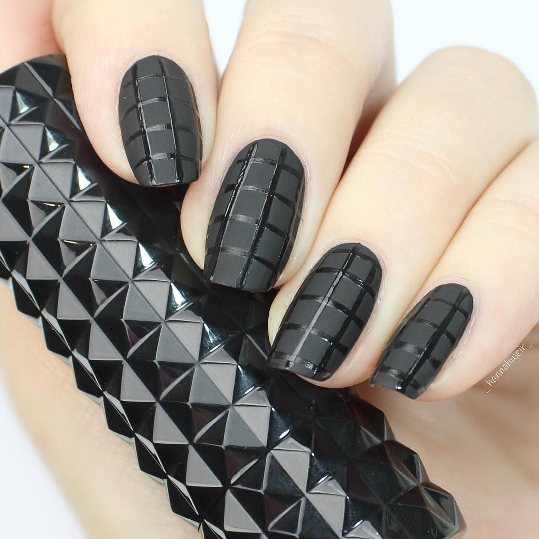 matte black nails designs | ideas | inspirations | stripes | simple ...