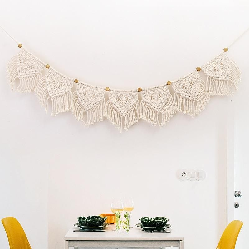 Boho Macrame Fringed Woven Tapestry Mantle Swag Wall Hanging Garland Wedding Decor Fiber Wall Art Woven Tapestry for Boho Home Holidays and Ceremony  3 different lengths