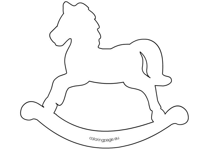 Sagoma Cavallo A Dondolo Disegno.Shablon Dlya Pechati Rocking Horse Idee Fai Da Te Festa Di