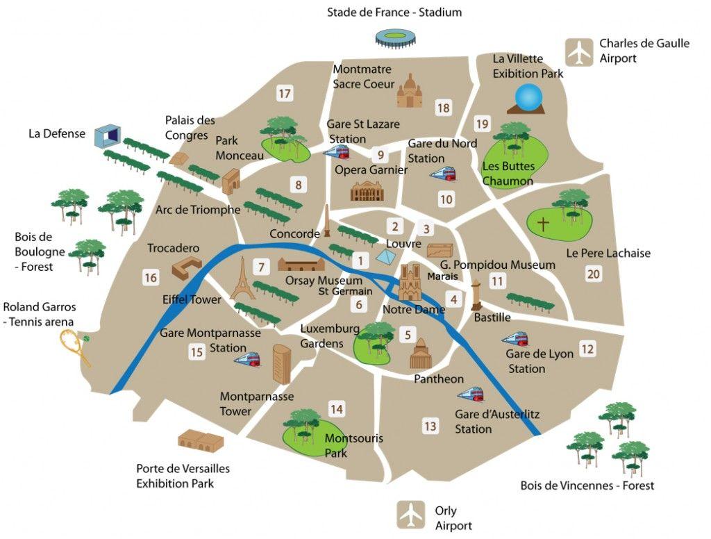 Cartina Turistica Di Parigi.Mappa Con I Monumenti Di Parigi Fidelity Viaggi Parigi Parigi Mappa Viaggiare A Parigi