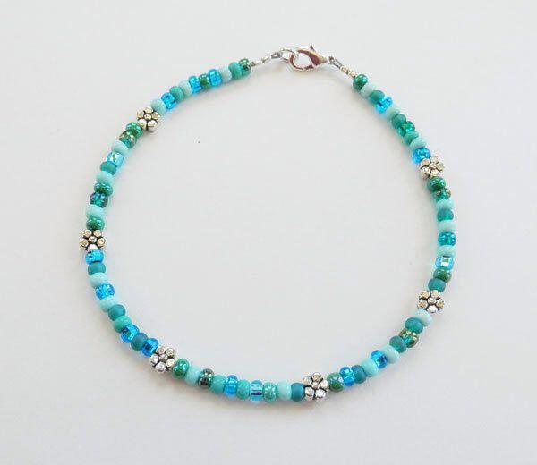 Anklet Turquoise Blue /& Pearly White Seed Bead Modern Boho Friendship Bracelet