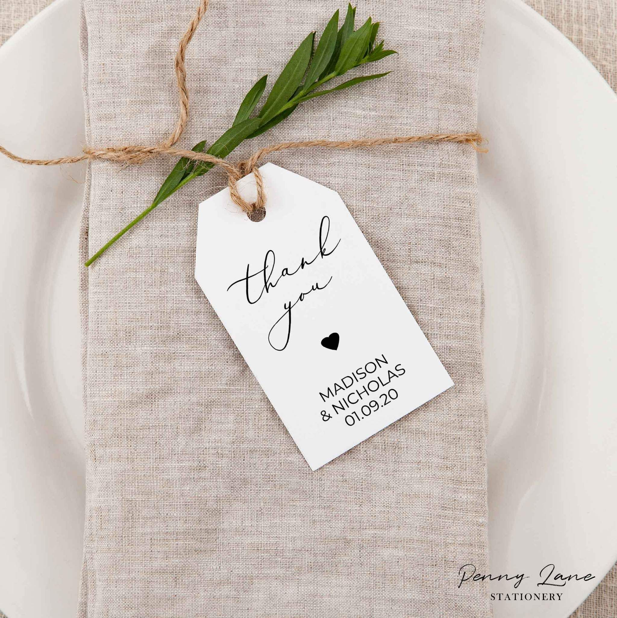 Photo of Simple Classic Shaped Wedding Favor Tag
