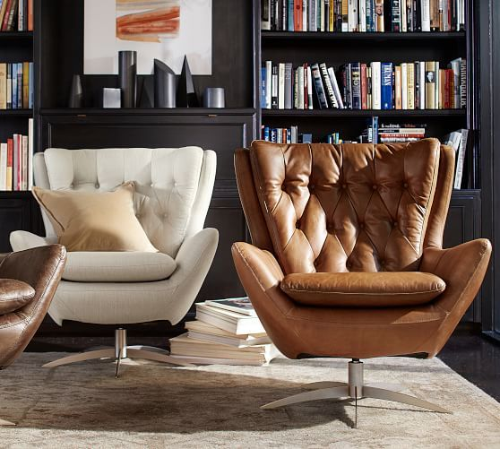 Wells Leather Swivel Armchair In Vintage Caramel From Pottery Barn