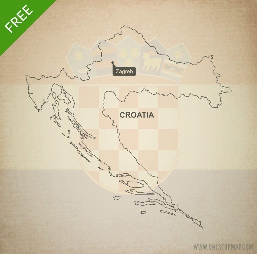 Free Vector Map Of Croatia Outline Croatia Map Map Vector