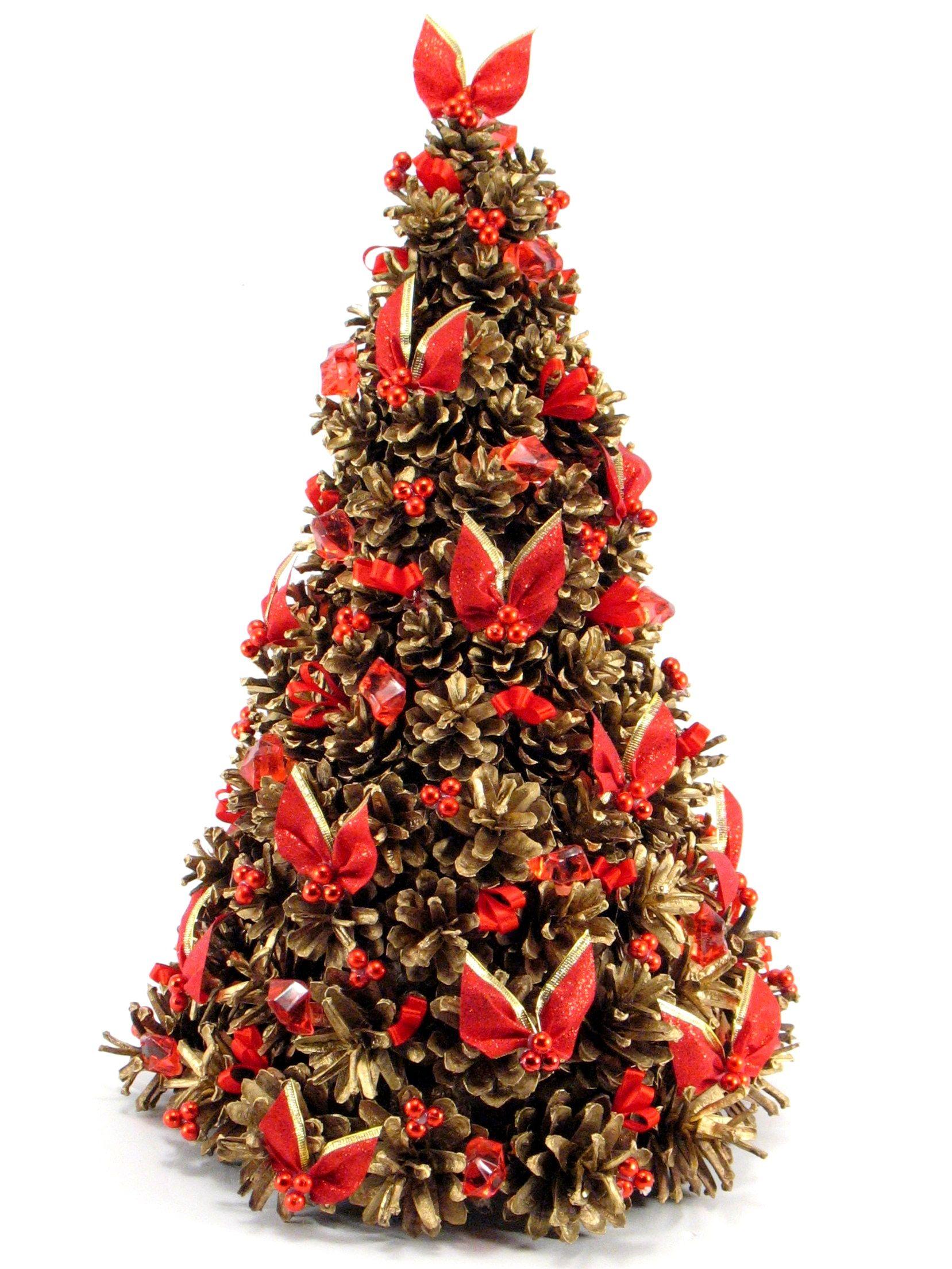 Choinka Z Czerwonymi Kokardkami Z Szyszek Zlocona Udekorowana Christmas Tree Crafts Christmas Tree With Gifts Christmas Crafts Diy