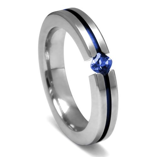Edward Mirell Titanium and Princess Cut Blue Sapphire Tension Set Ring $193.95