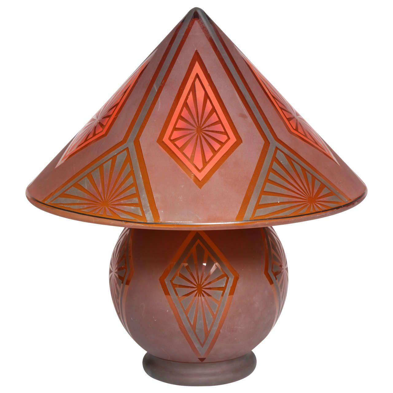 Bellova Glass Art Deco Table Lamp, circa 1925 Czechoslovakia 1