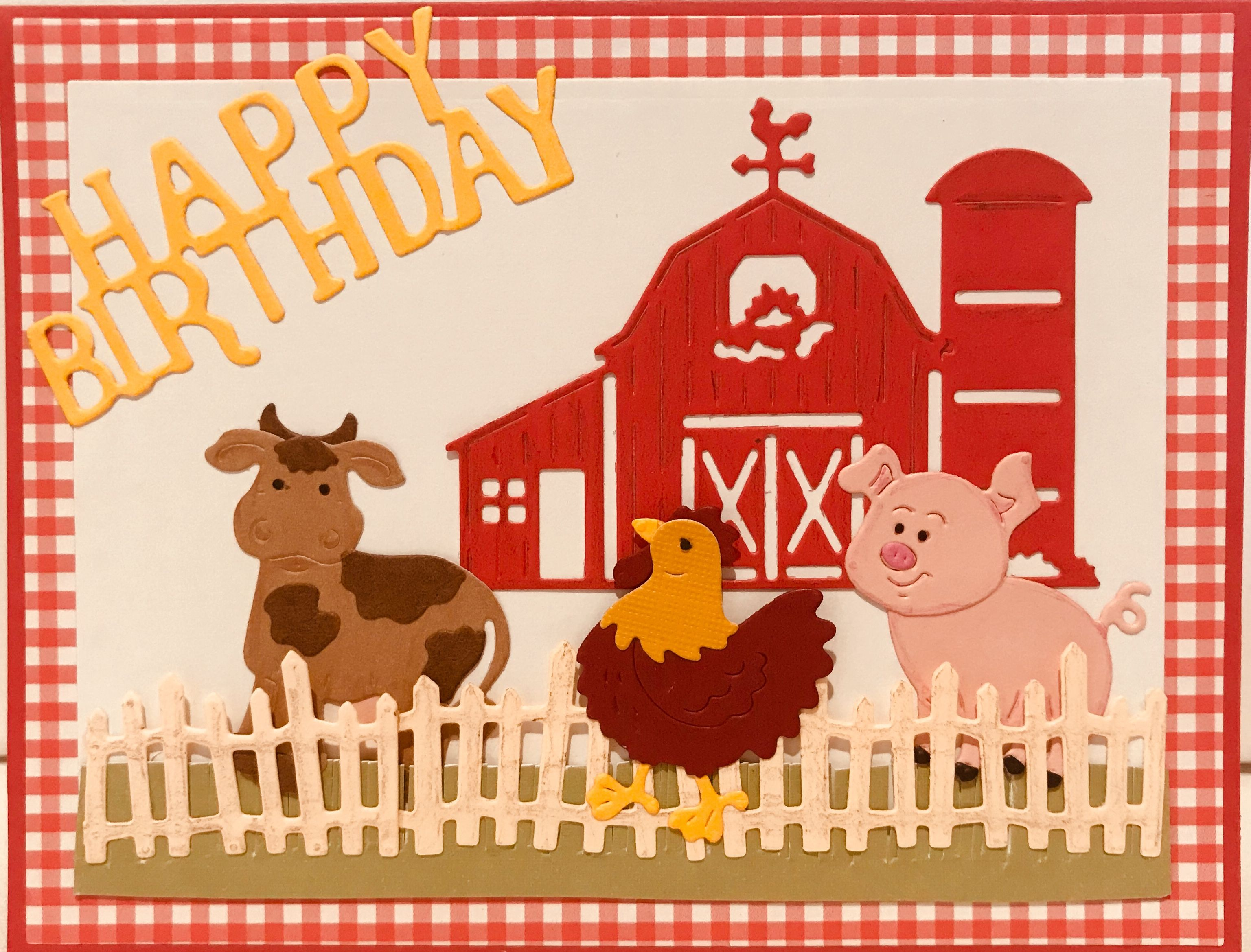 On the farm birthday card homemade cards handmade cards cottage