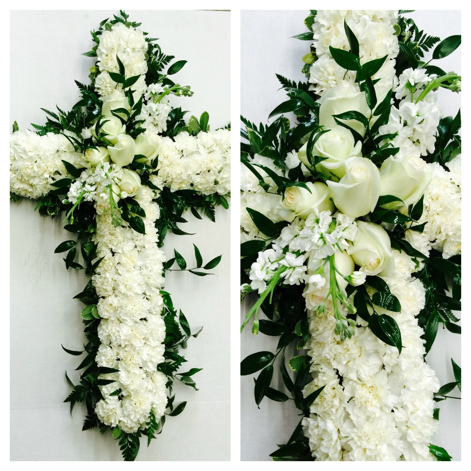 Classic All White Sympathy Cross For Family Service So