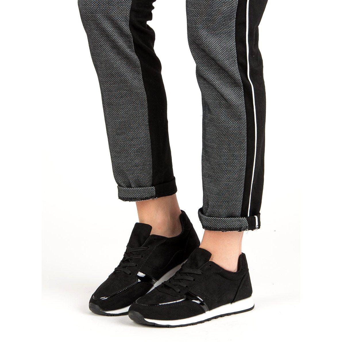 Jumex Wygodne Buty Sportowe Czarne Black Jeans Black Fashion