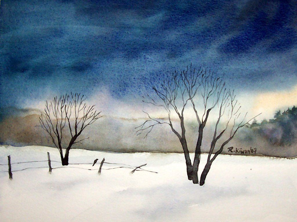 Winter Scene Painting Snow Winter Painting Winter Watercolor