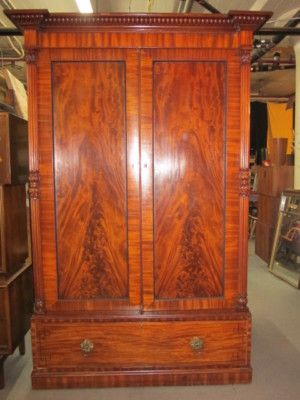 LARGE ANTIQUE MAHOGANY ARMOIRE CLOSET Completed 425.00 Furniture Price Guide