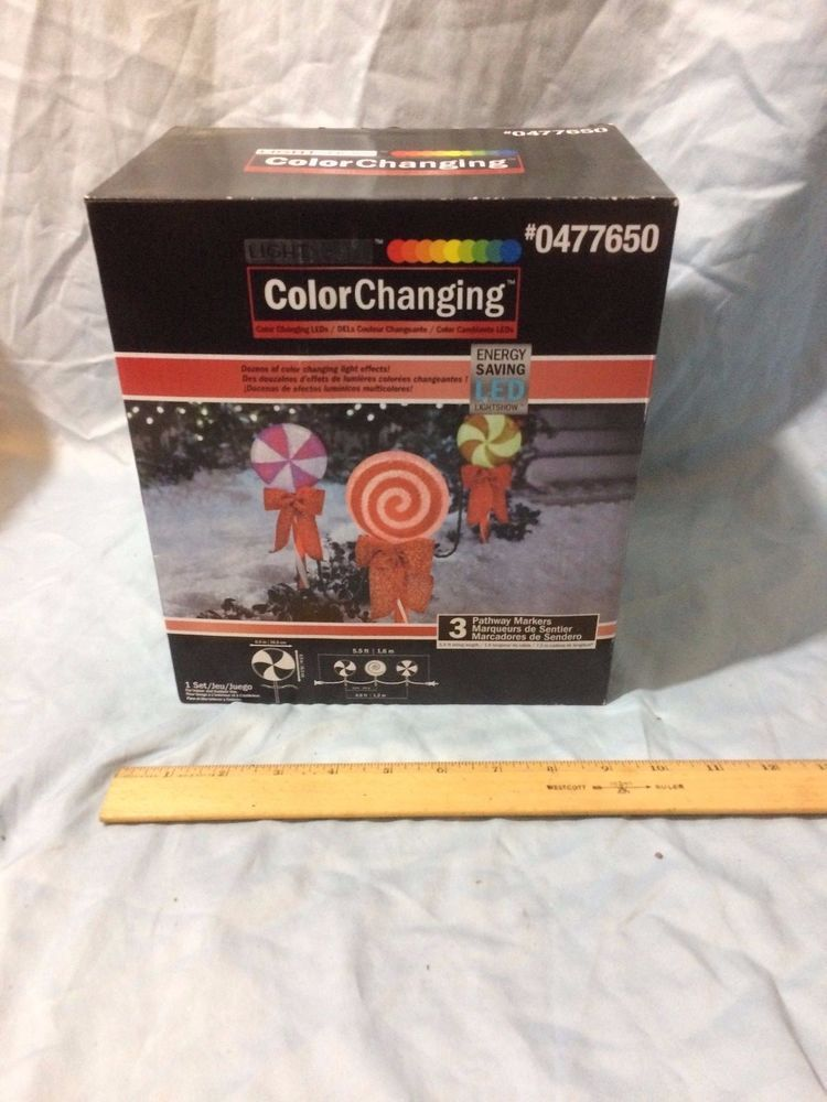 3 gemmy led light show lollipop color changing outdoor christmas pathway markers