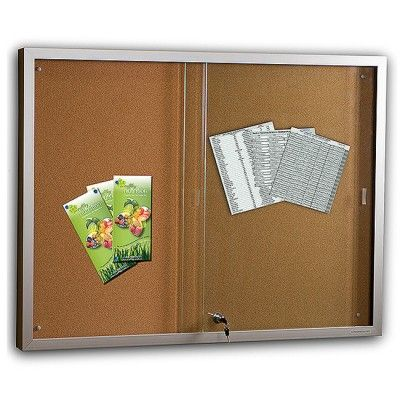 Economical Sliding Glass Door Notice Board With 3mm Safety Glass A Self Fitting Lock And Key Is Ideal For In Display Case Fabric Pin Boards Sliding Glass Door