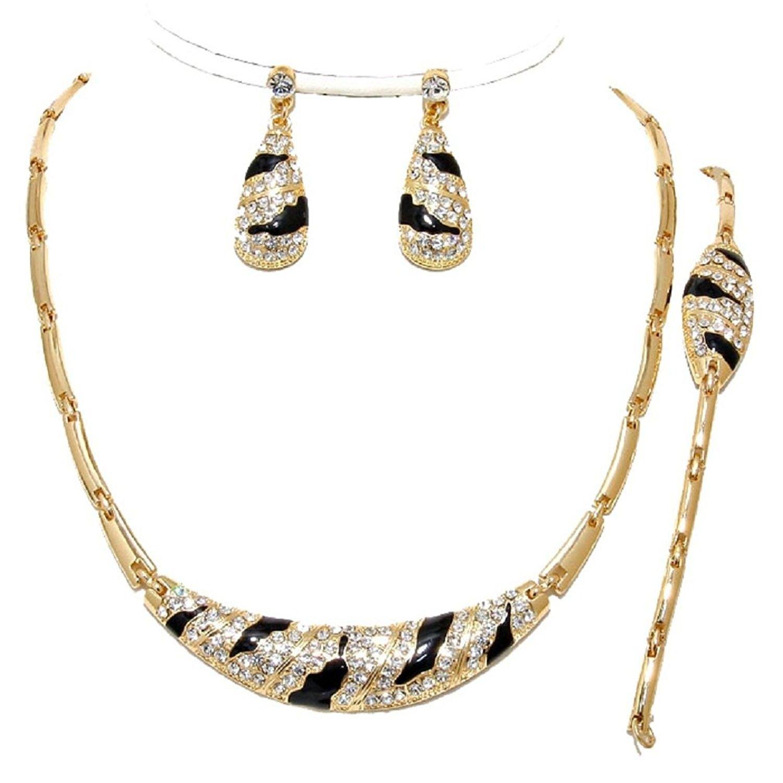 pcs elegant luxury gold black crystal zebra wild print necklace