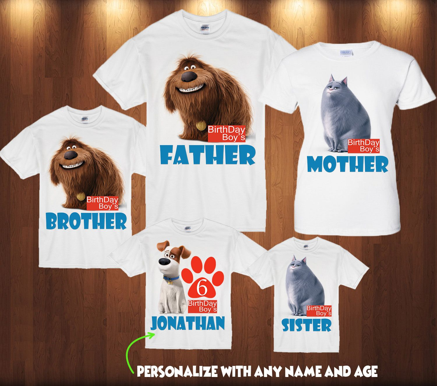Personalize Secret Life of Pets Birthday Shirt