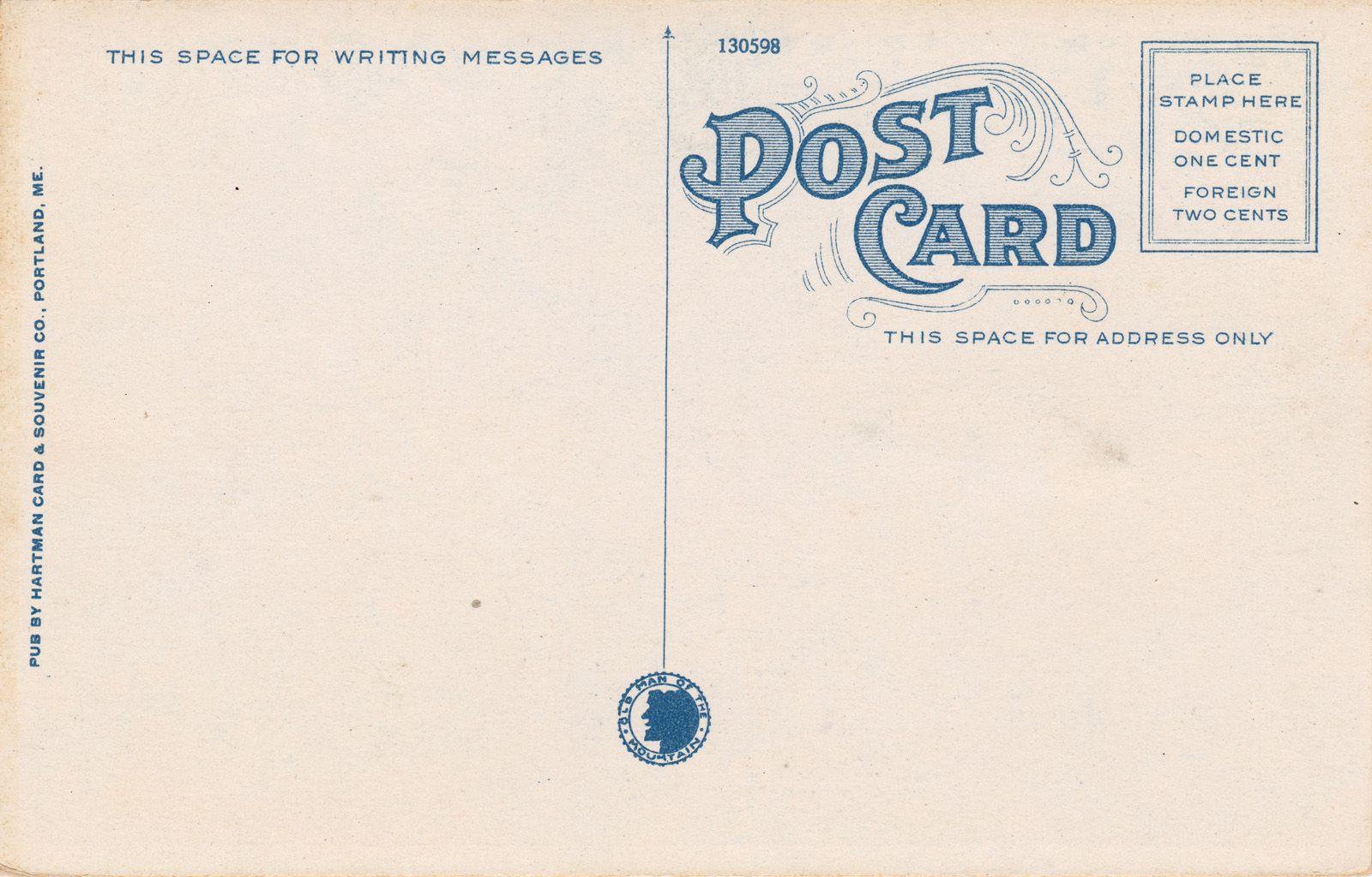 Back Of New Hampshire Postcard