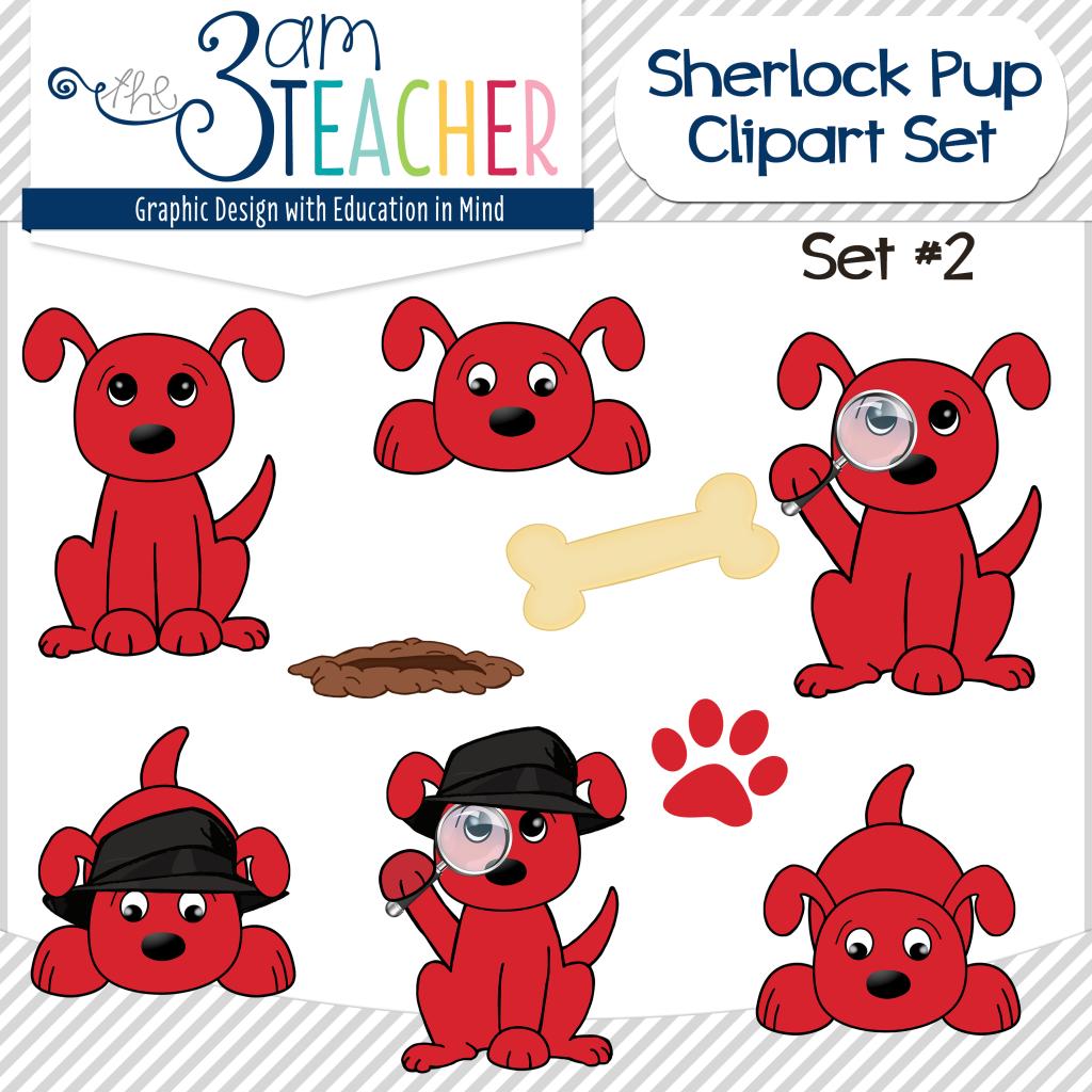 Sherlock Dog Clip Art Set 2 Big Red