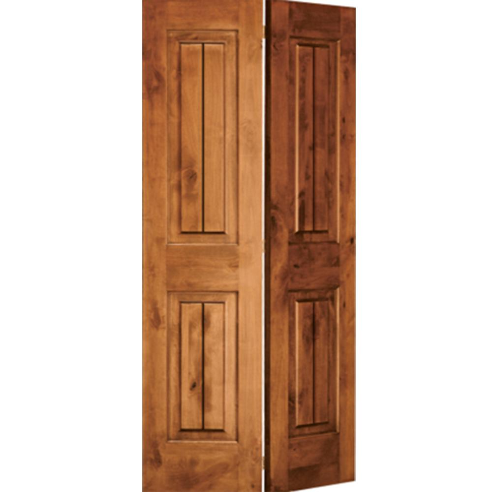 Krosswood Doors 36 In X 80 In Rustic Knotty Alder 2 Panel Square Top W V Grooves Solid Core Unfinished Wood Interior Bi Fold Door Ka 305bfv 30 68 138 Puertas Interiores Panel