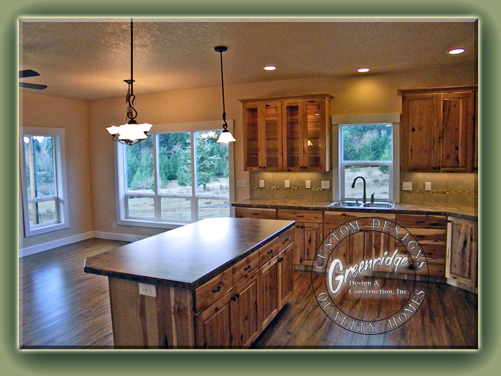 Rustic Kitchen - Hickory Cabinets AppleWood Flooring   Greenridge ...