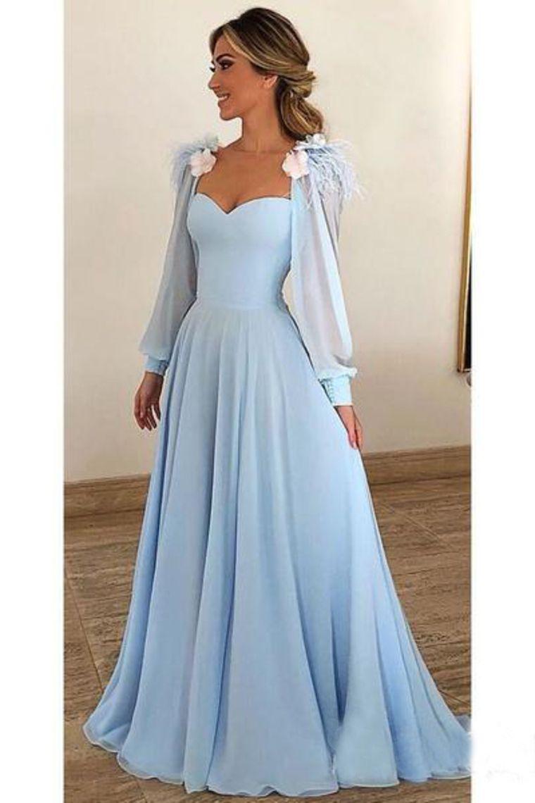 2019 Sky Blue Long Chiffon Ballkleider mit Ärmeln Modestes Abendkleid € 146.02 SAP3RQKD6A - SchickeAbendKleider.de