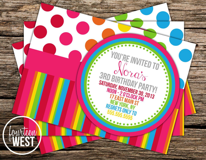 Printable Rainbow Birthday Invitations ~ On sale rainbow birthday invitation printable by fourteenwest