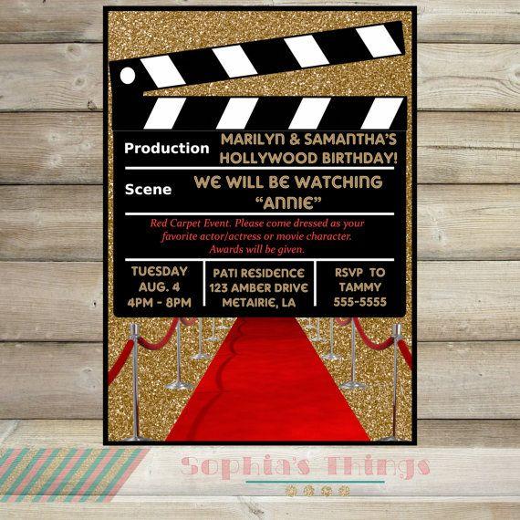 Movie Party Invitation, Hollywood Movie Birthday Party
