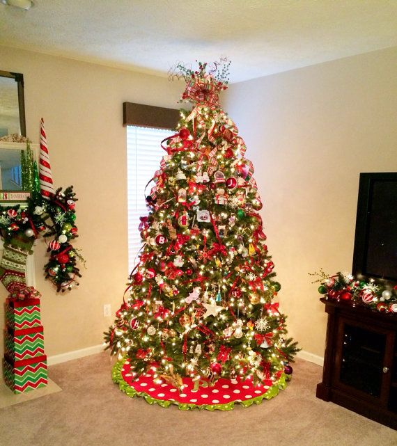 """Personalized Christmas Tree Skirt - Polka Dot Tree Skirt - 60"""" Red and White Pol… 