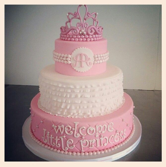 Awesome Pink And White Princess Theme Baby Shower Cake Decoration