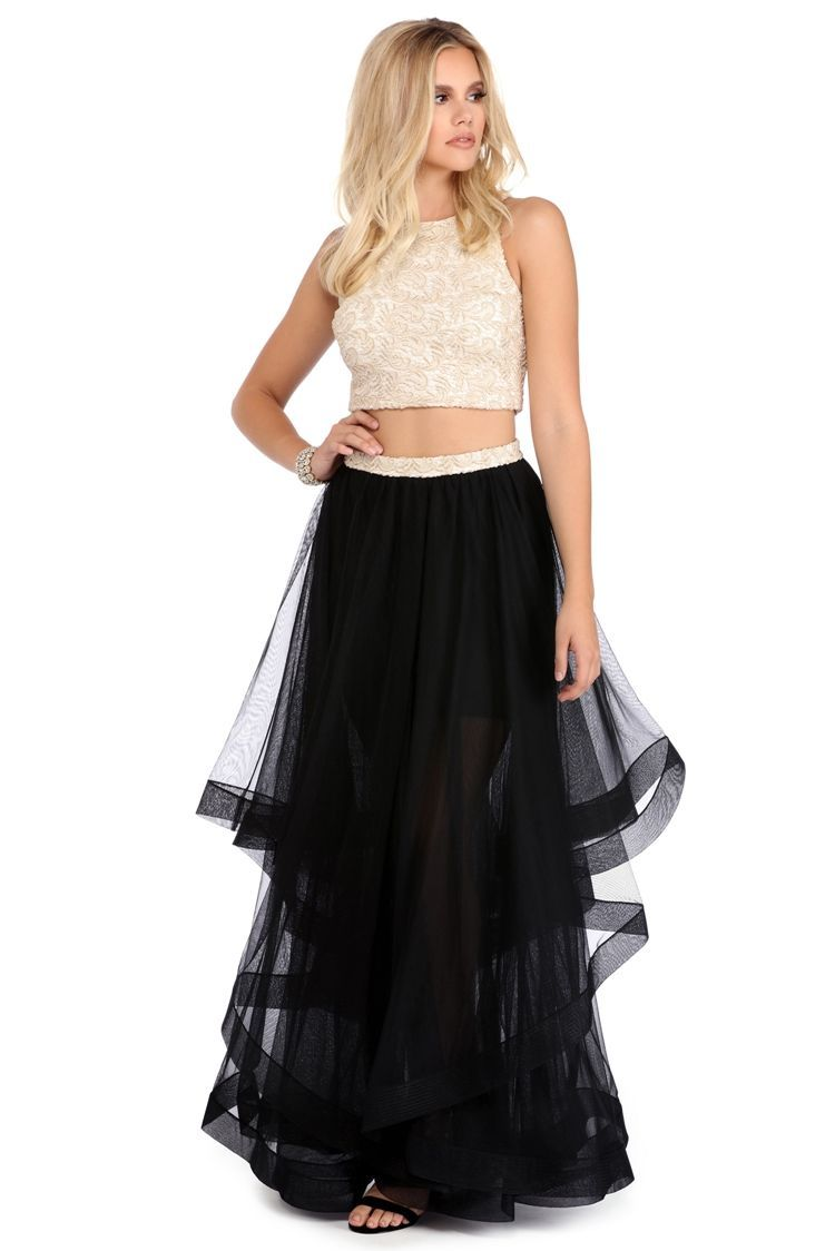 Bethany gold and black two piece gown lace crop tops gowns and