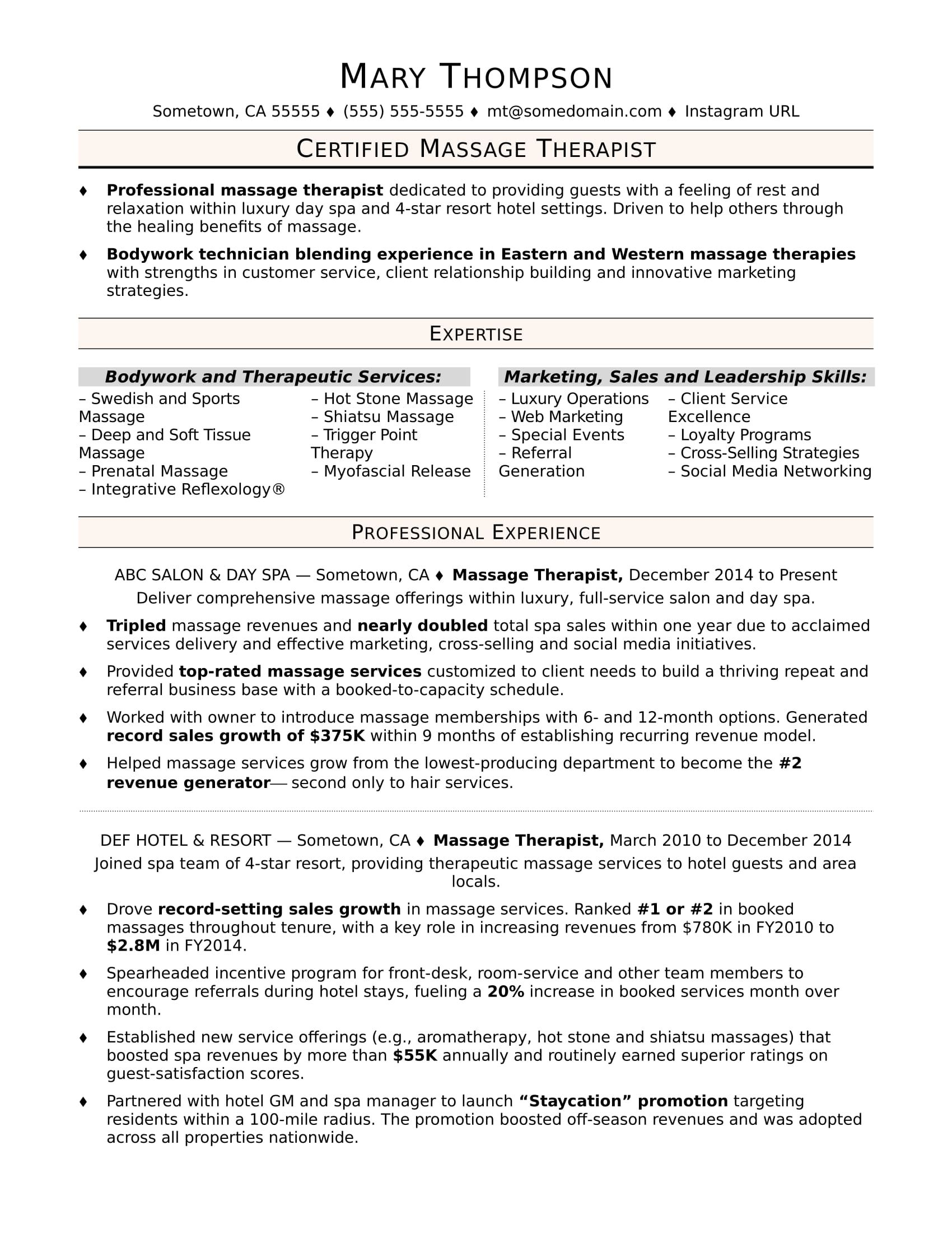 Massage therapist resume sample Business plan template