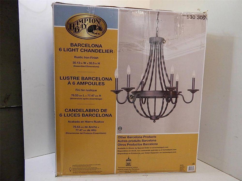 Hampton Bay 530306 Barcelona 6 Light Chandelier Rustic Iron100168JM