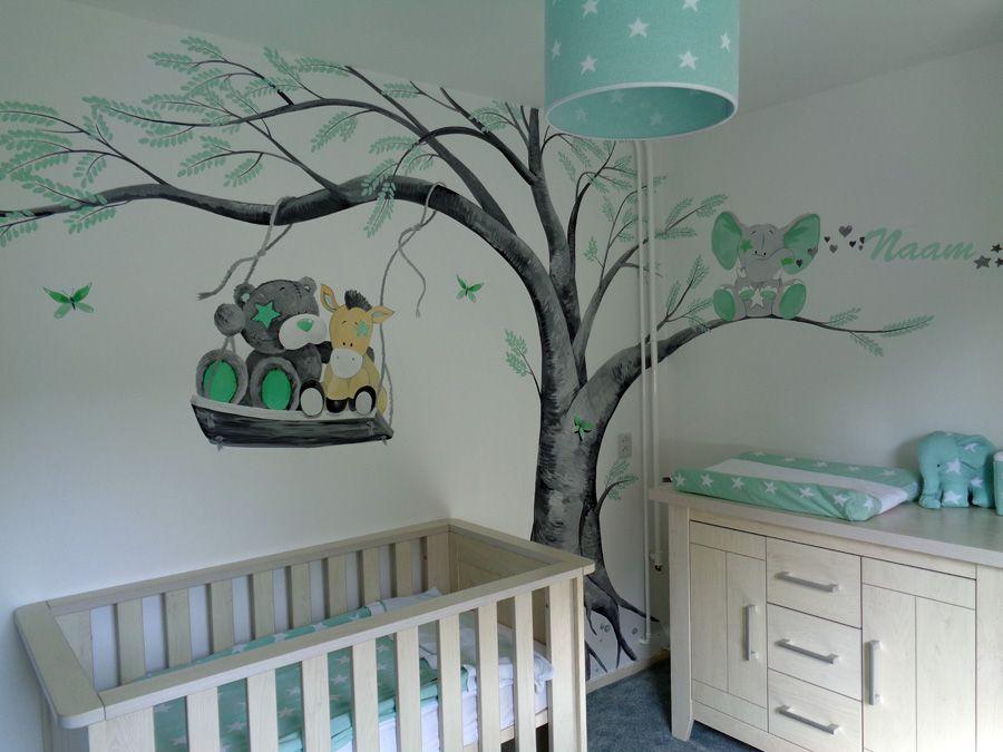 Babykamer muurschildering me to you beertjes groen en grijs muurschildering babykamer pinterest - Grijs muurschildering ...