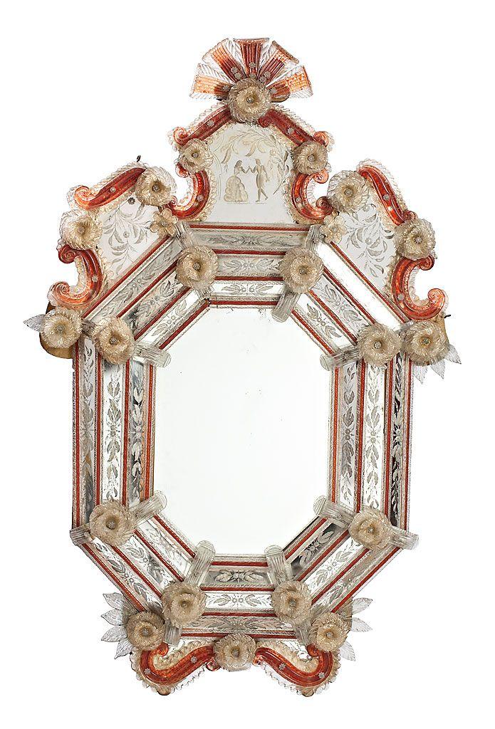 Espejo veneciano con marco de espejos grabados y vidrio de - Cristal de espejo ...