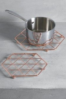 Rose Gold Set of 2 Geo Trivets £10 #copperkitchenaccessories