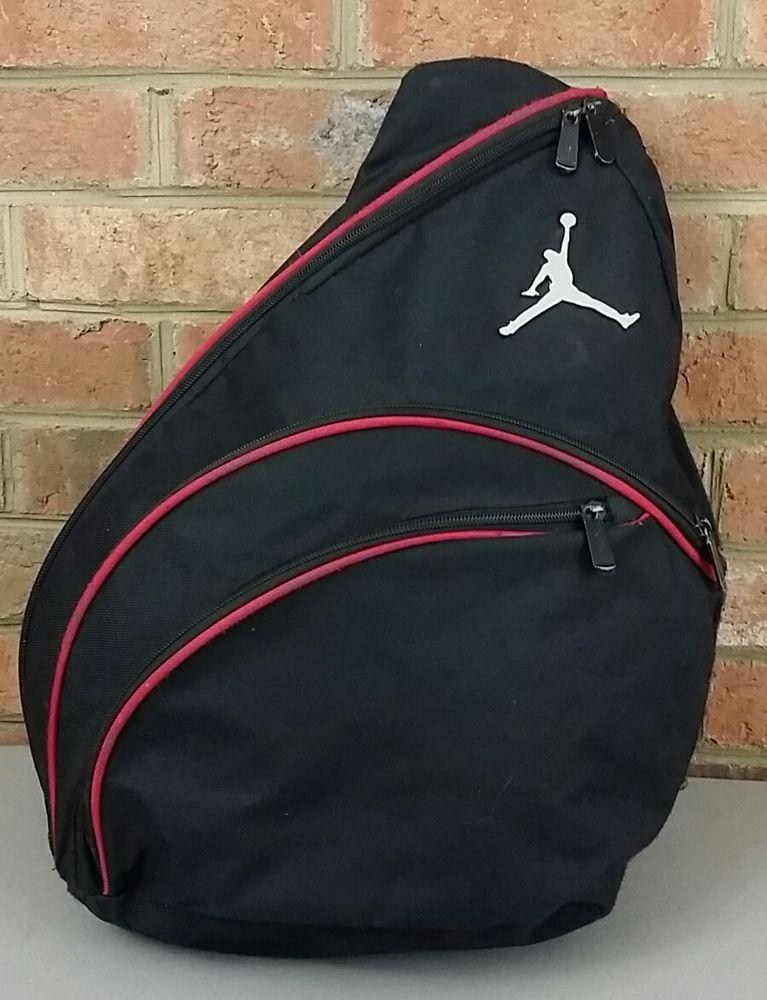 Air Jordan Jumpman Sling bag Backpack gym Black w  Red Trim Nike ... d2cf57fbb8f0c
