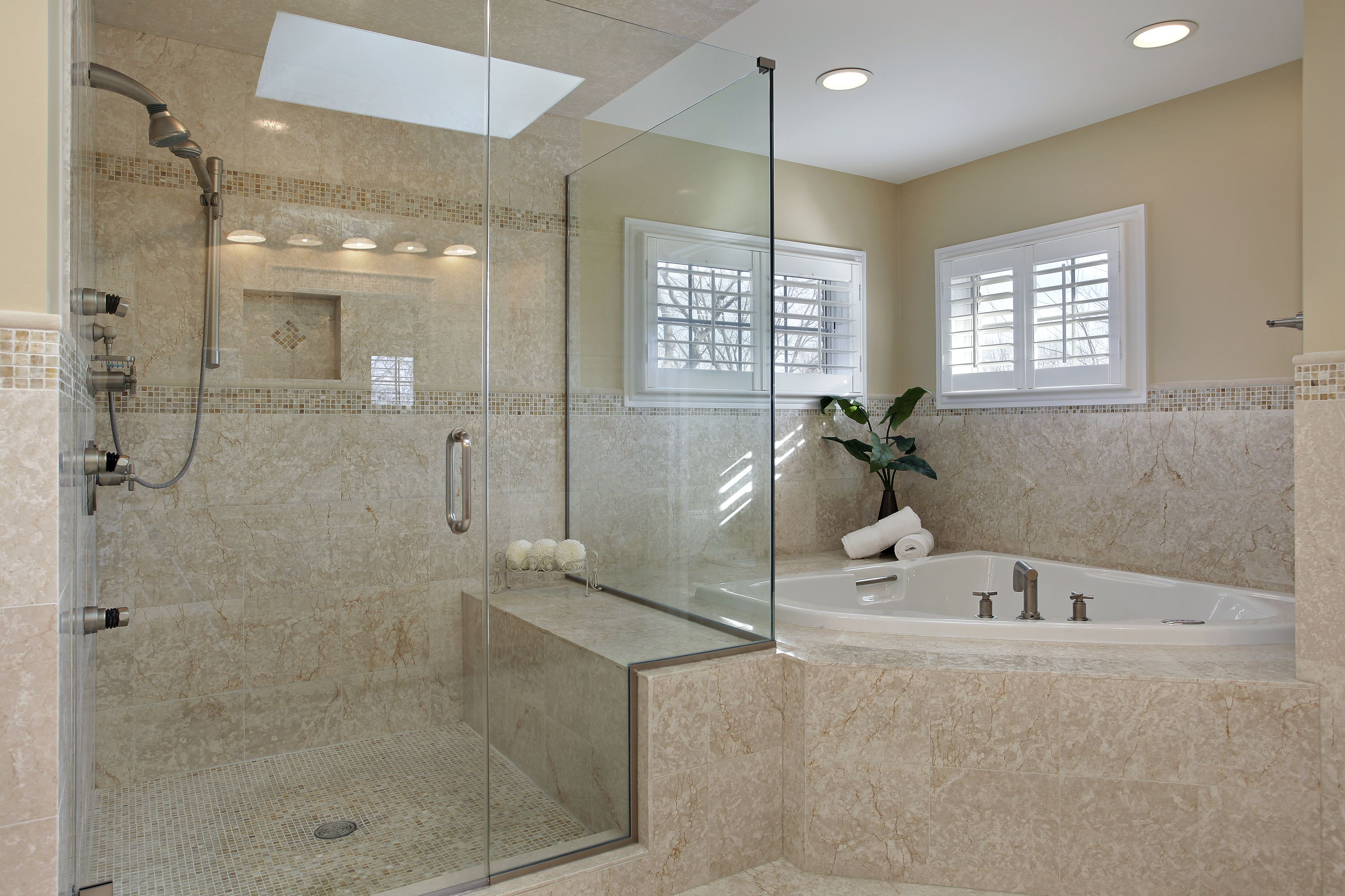 Master Bath With Large Walk In Shower With Tile Surround Corner