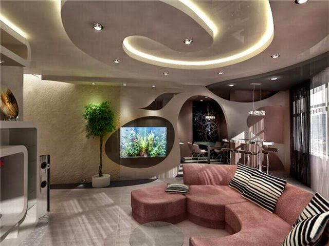 Awesome white color concept for elegant living room with artistic ceiling  and lights decoration. Unusual Ceiling Design for Living Room. - Home Design Bee Modern Unique False Ceiling For Contemporary