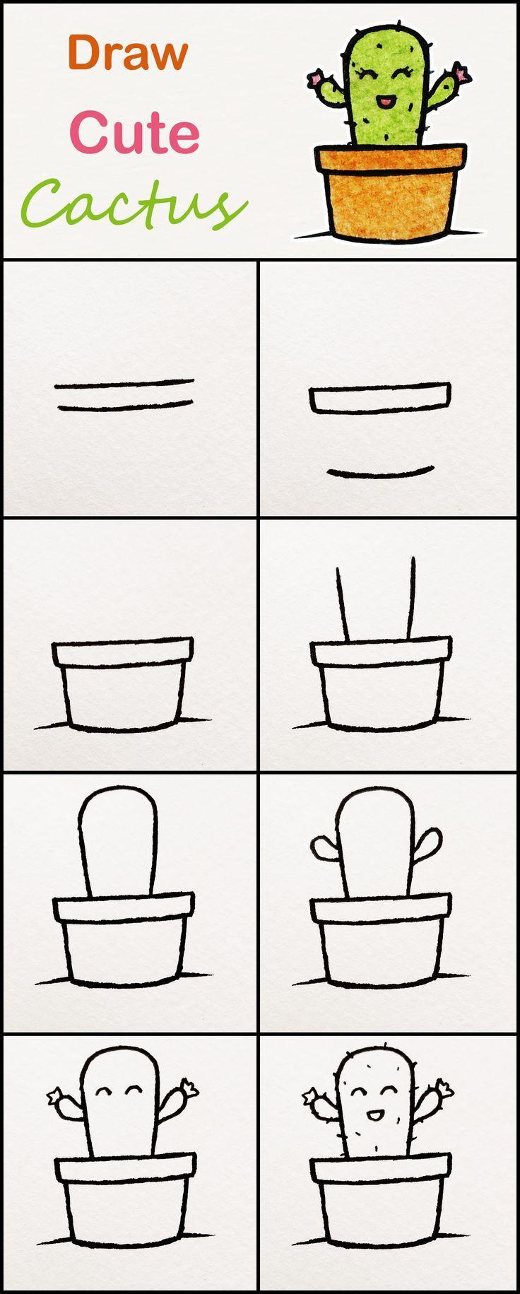Lerne Schritt für Schritt, wie man einen süßen Kaktus zeichnet ♥ sehr einfaches Tutorial #kaktus #Zeichnungen #kawaii #tut ... #pencildrawingtutorials