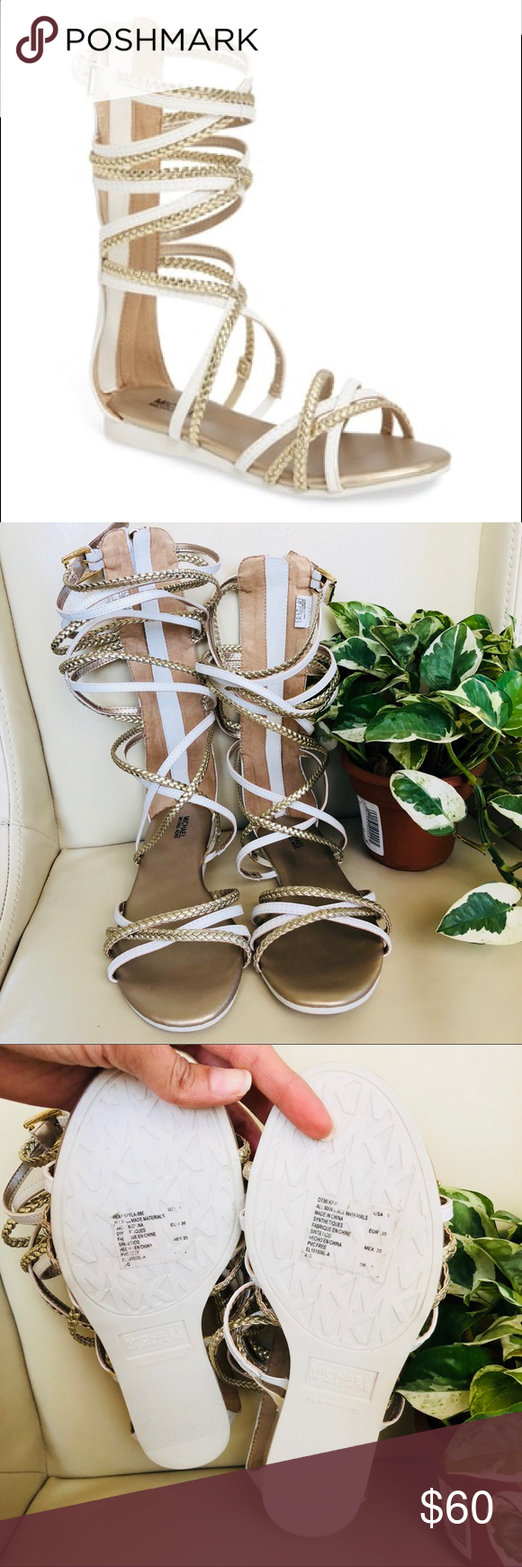 50bd554ff2 MichaelKors girls gold and white gladiator sandals Price firm New sandals  never used Michael Kors Shoes Sandals & Flip Flops
