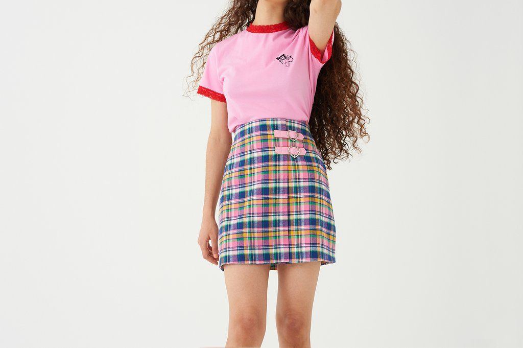 96f2211300 Lazy Oaf Check Kilty Skirt. A-line skirt in rainbow tartan. Mock wrap-around  look. Heart-shaped buckle detailing. Full lining. Centre-back invisible  zipper ...