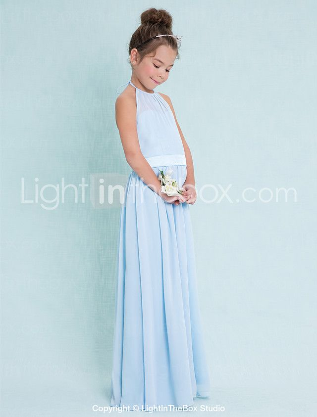 89a17a06b Floor-length Chiffon Junior Bridesmaid Dress Sheath / Column Halter with