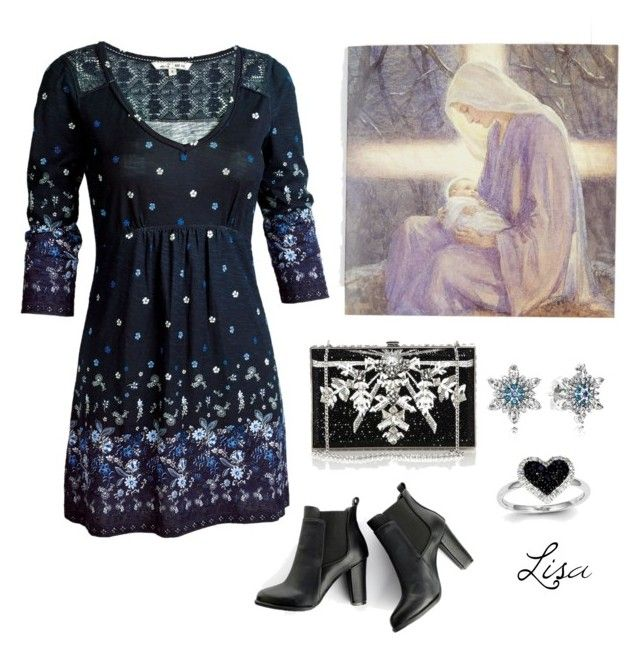 """""""Celebrate His birth!"""" by coolmommy44 ❤ liked on Polyvore featuring The Great British Card Company, Fat Face, SWEET MANGO, Judith Leiber, Pandora and Kevin Jewelers"""