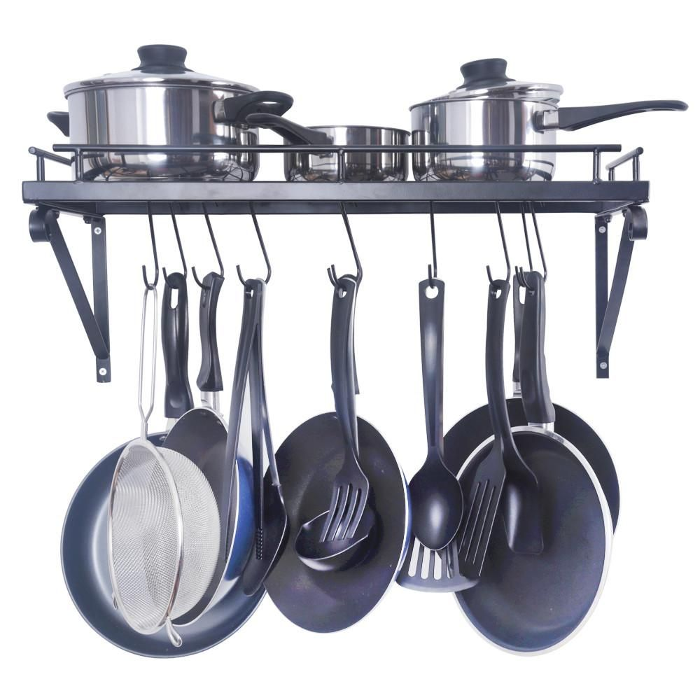 Zesproka Kitchen Wall Pot Pan Rack With 10 Hooks Black Kitchen Pot Pot Rack Hanging Pot Rack